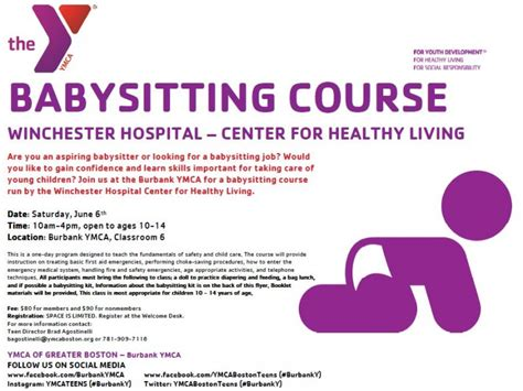 babysitting course on saturday june 6th at the burbank ymca in reading reading ma patch