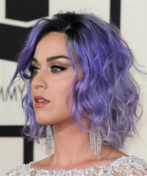 short biography katy perry katy perry medium wavy casual hairstyle purple