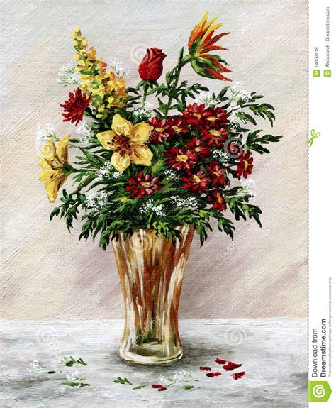 Bunch Of Flowers In A Vase by Bunch Of Flowers In A Glass Vase Royalty Free Stock Photos
