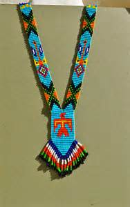 vintage native american bead necklace with fringe bright