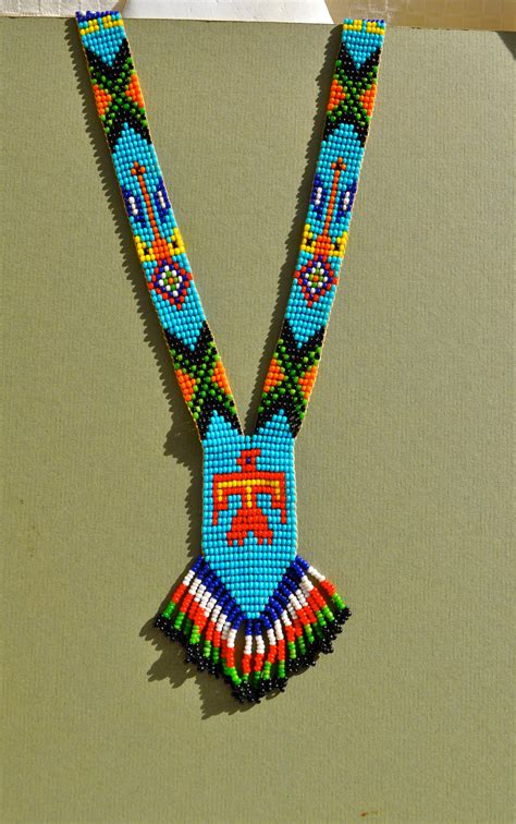 indian bead necklace vintage american bead necklace with fringe bright