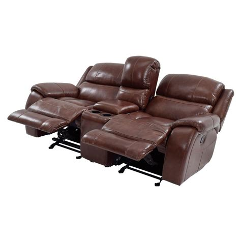 leather media recliners console sofa laude run mae console reclining sofa reviews