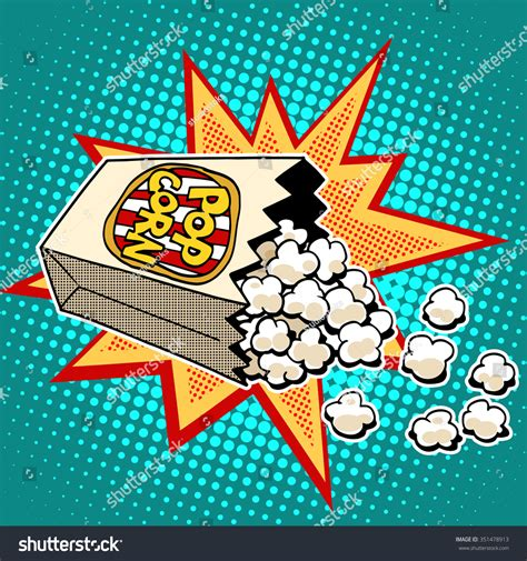 imagenes retro pop popcorn sweet savory corn pop art stock vector 351478913