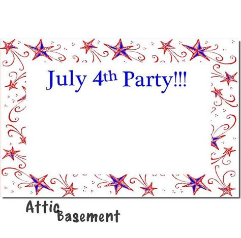 july 4th fourth party invitation instant download card