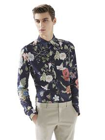 gucci flora knight print shirt in blue for men lyst