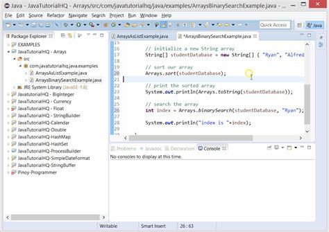 Java Search Java Arrays Binarysearch Method Exle