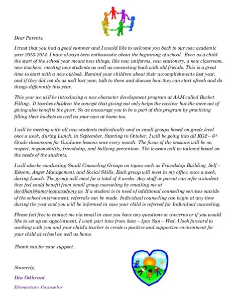 Parent Welcome Letter Middle School Aam Elementary Counselor Welcome Letter
