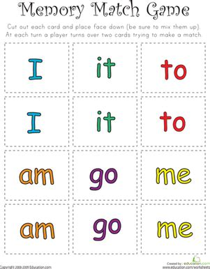 printable sight word board games memory games worksheets free printables education com
