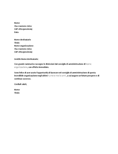 modello lettere dimissioni lettere office