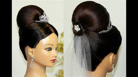 bridal updo bun hairstyle for medium hair