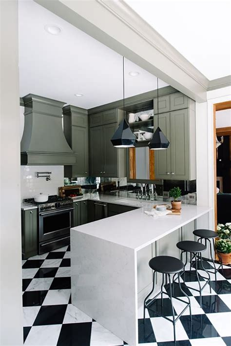 mirrored backsplash in the kitchen the makerista two beautiful green kitchens you have to see swoon worthy
