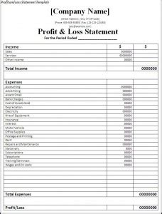 printable profit and loss statement free word s templates