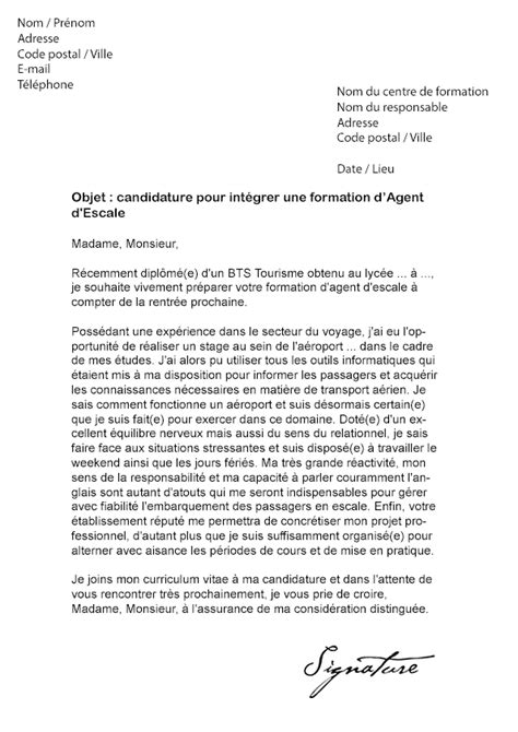 lettre de motivation formation d escale mod 232 le de lettre
