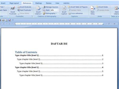 membuat daftar isi  microsoft word  mudah