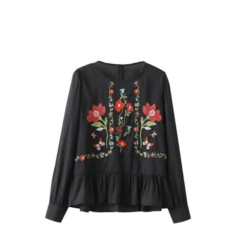 Floral Embroidered Shirts White floral embroidered sleeve shirt blouse white black casual top ebay