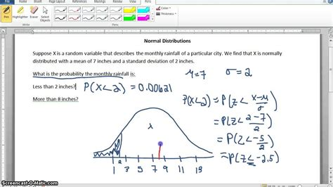 excel tutorial normal distribution normal distribution rainfall exle finding probability