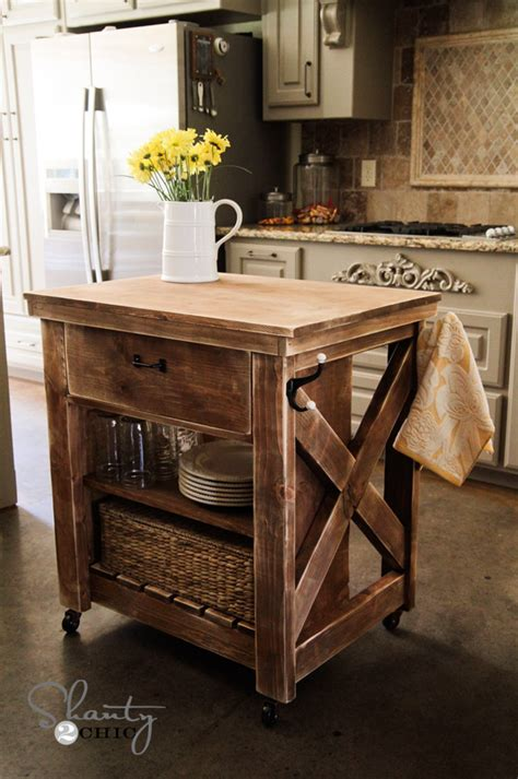 Plans For Kitchen Islands White Rustic X Small Rolling Kitchen Island Diy Projects
