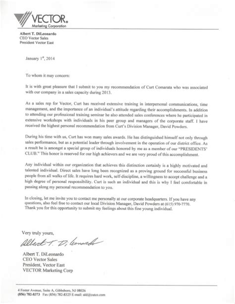 Recommendation Letter For Ceo My Cutco Ceo Recommendation Letter