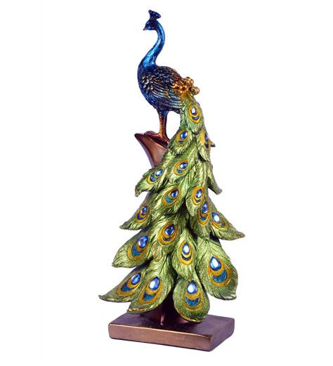 showpiece for home decoration peacock showpiece by basement bazaar exhibits home decor pepperfry product