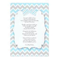baby shower thank you notes with poem blue gray 5 quot x 7