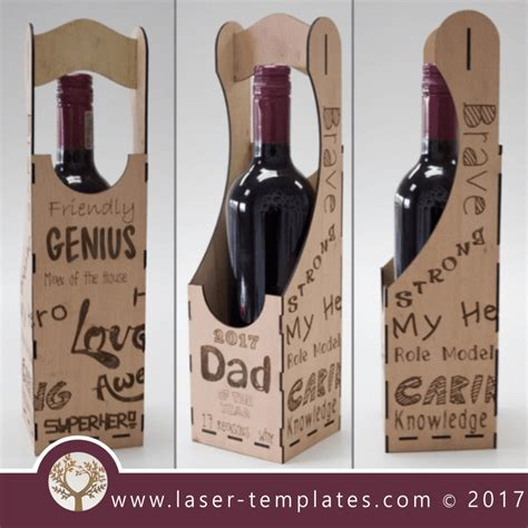 Dad Wine Box Template 2017 Fathers Day Design Laser Cut And Engraving Online Patterns Laser Laser Cut Wine Box Template