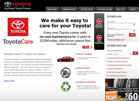 toyota account toyota financial services registration autos post