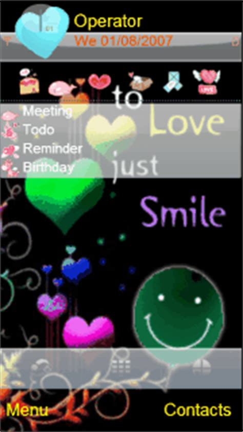 themes love samsung smile2love animated theme for symbian s60v5 mobiles