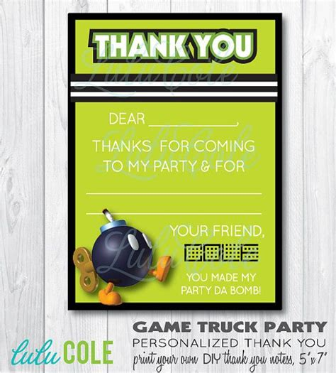 wb themed games level 4 game truck gamer birthday party personalized thank you by