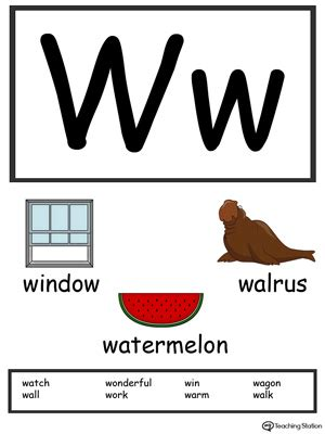 beginning card template words starting with letter w myteachingstation