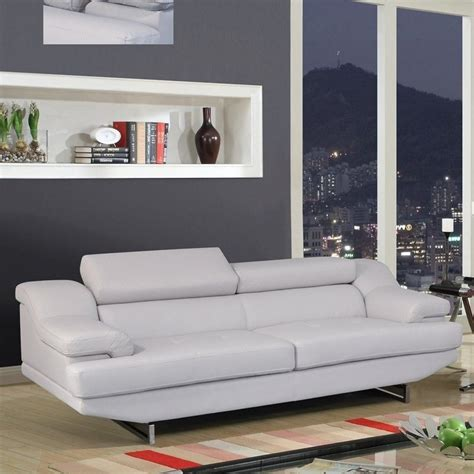 global furniture usa natalie leather sofa in gray u8141
