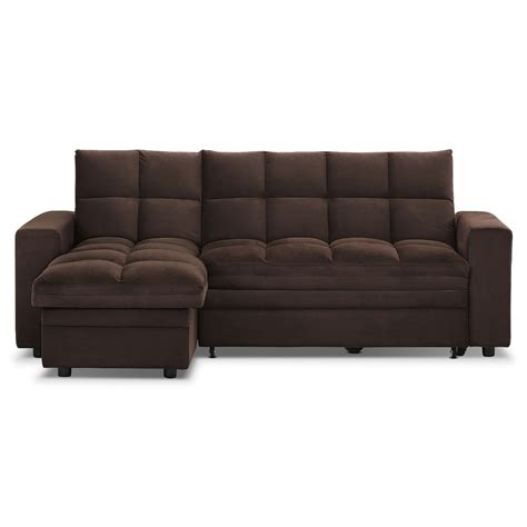 value city sofa bed metro chaise sofa bed with storage brown value city