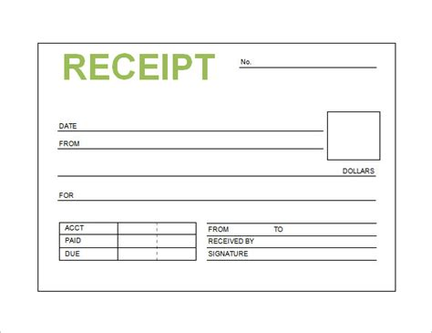 receipt template excel free receipt printable template for excel pdf formats