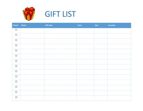 gift list template 7 shopping list templates office templates