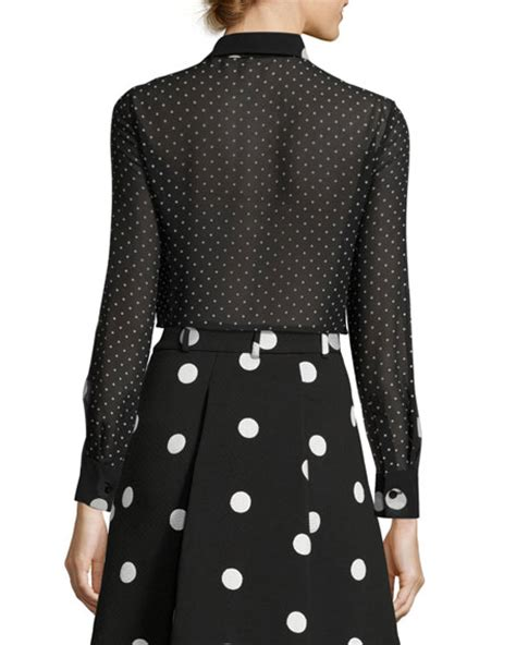 Polka Dot Blouse With Tie by Boutique Moschino Sleeve Tie Neck Polka Dot Silk