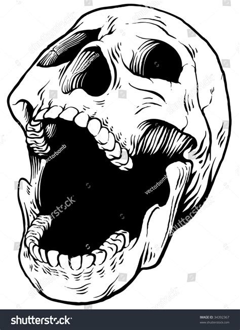 screaming vector skull 3 quarter view stock vector