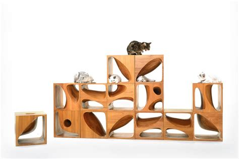 cat table catable 2 0 stylish wooden cubes keep your cat