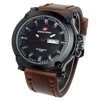 Swiss Army Sa 1055 swiss army jam tangan pria leather coklat sa