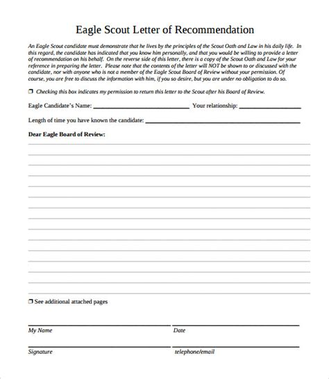Reference Letter Exle For Eagle Scout Eagle Scout Letter Of Recommendation 9 Documents In Pdf Word