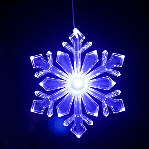 blue and white led snowflake lights lighted outdoor snowflake ornament design 1 size 6