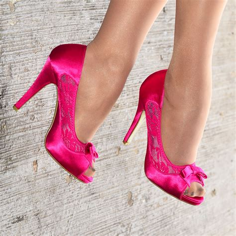 pink satin high heel shoes with bow