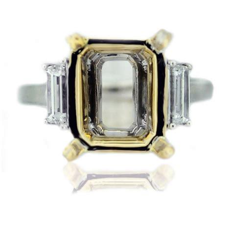 platinum 18k gold baguette emerald engagement ring
