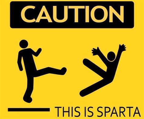 Large Dinosaur Wall Stickers funny warning sign caution this is sparta sticker self
