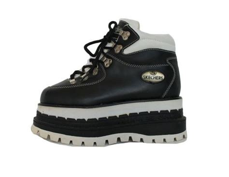 90s Skechers by 90s Mega Platform Skechers Boots Black And White Leather
