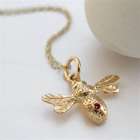9 Carat Gold Ruby Bee Necklace  Gifts for Her   MyGiftGenie