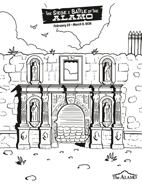 coloring sheet alamo coloring sheets for children