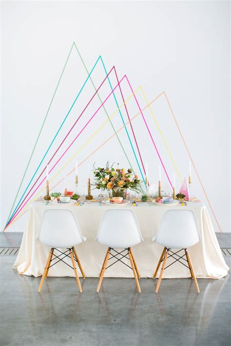 Geometric wedding backdrop DIY