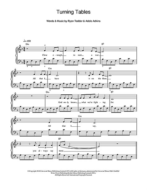 Turning Tables Chords by Turning Tables Sheet By Adele Beginner Piano 110935
