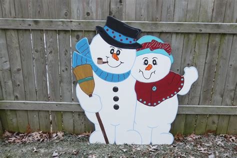 christmas outdoor snowman couple wood yard art by