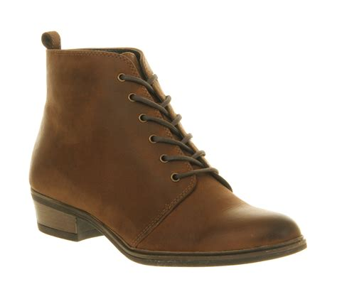 office blast lace up brown leather ankle boots