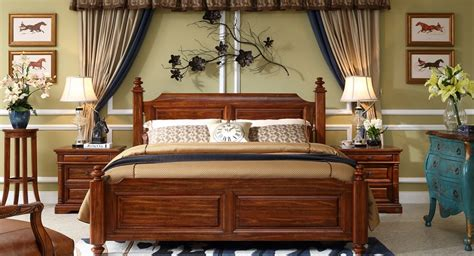 american style solid wood bed king size bed buy